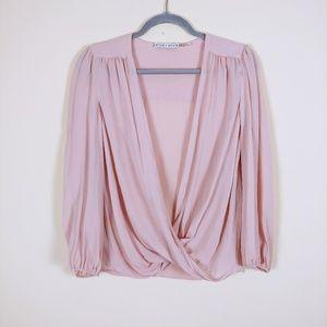 Alice + Olivia light pink 100% silk blouse